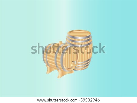 wooden barrels ( background on separate layer ) - stock vector