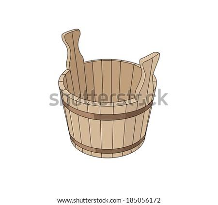 Wooden basin - stock vector