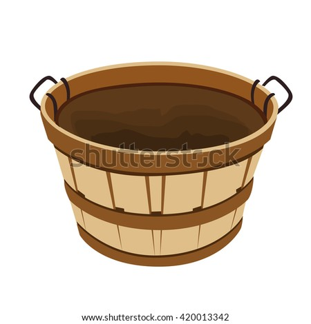 Wooden basket, vector illustration, isolated - stock vector
