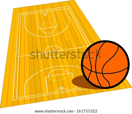 Wooden basketball court. - stock vector