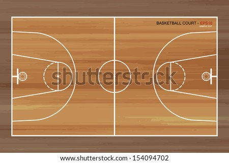 Wooden basketball court - Vector illustration