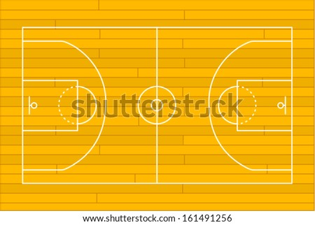 Wooden basketball court. Vector illustration