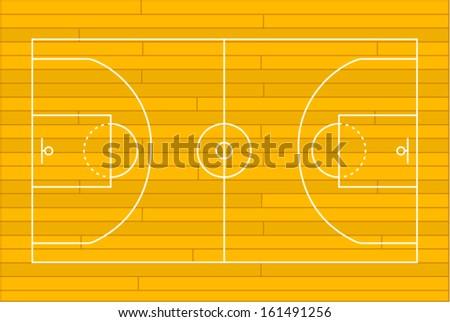 Wooden basketball court. Vector illustration  - stock vector