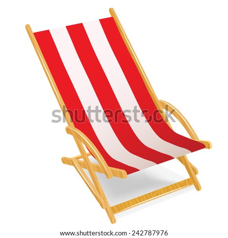 Wooden beach chaise longue isolated on white - stock vector