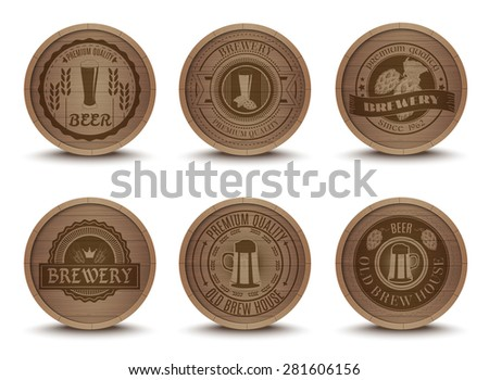 Wooden beer house emblems retro style beverage drip mats coasters  icons collection print abstract isolated vector illustration - stock vector