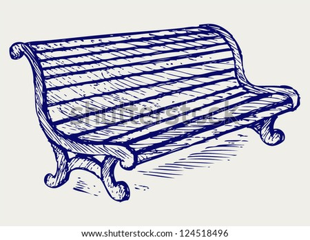 Wooden bench. Doodle style - stock vector