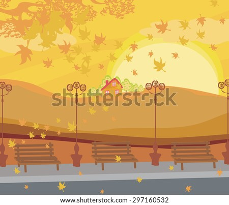 Wooden bench in a beautiful park - stock vector