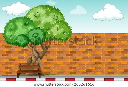 Wooden bench under a big tree - stock vector