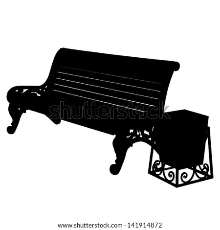 wooden bench with an urn isolated on white background. Vector illustration. - stock vector