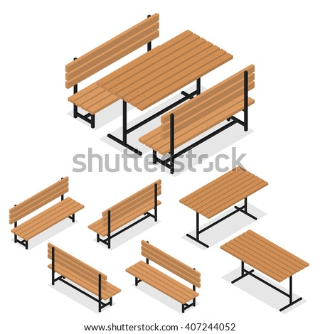 Wooden Benches and a table. Flat isometric. A place for rest, relaxation and picnic. The element of the Park or grove. The place for meeting friends. Vector illustration.