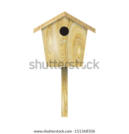 Wooden birdhouse on a white background - stock vector