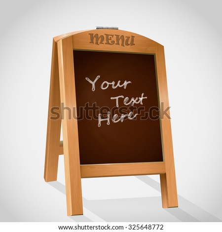 wooden board for menu. inscription in chalk by hand - stock vector