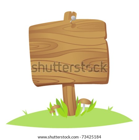 wooden board on a grass - stock vector