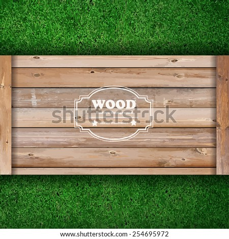 Wooden board on green grass texture background, Vector illustration template design - stock vector