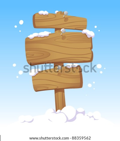 Wooden boards against of a winter landscape. Christmas illustration. - stock vector