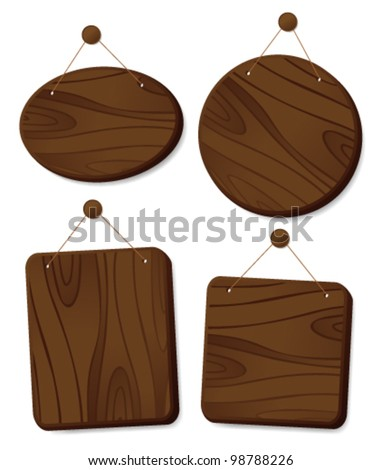 Wooden boards collection hanging on a cord with a nail. - stock vector