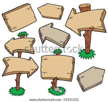 Wooden boards collection - vector illustration. - stock vector