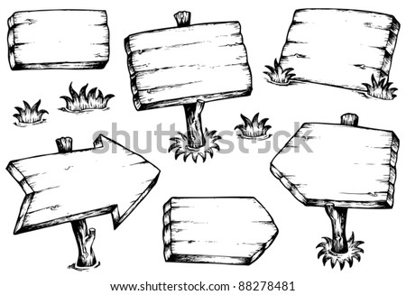 Wooden boards drawings collection - vector illustration. - stock vector