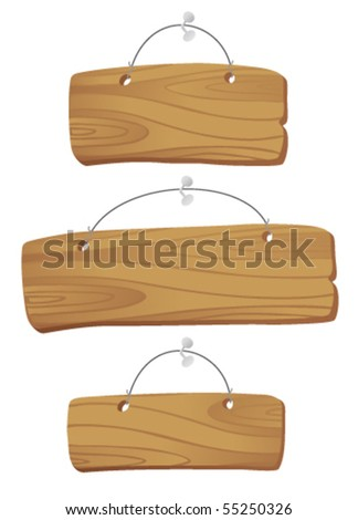 wooden boards hanging on a cord with a nail - stock vector