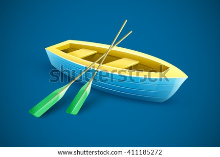 Wooden boat with paddles for fishing or kayaking extreme sports and entertainment vector illustration. transport icon, sport equipment. - stock vector