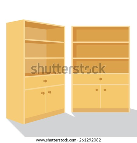 Wooden Bookshelf, Cabinets, Vector illustration. - stock vector