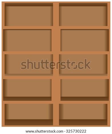 Wooden bookshelves five shelves on two panels. Vector illustration. - stock vector