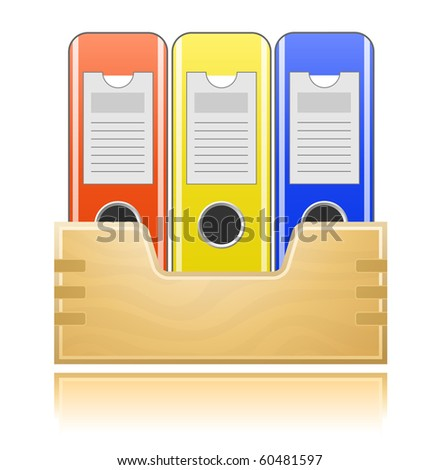 Wooden box and folders for office documents - stock vector