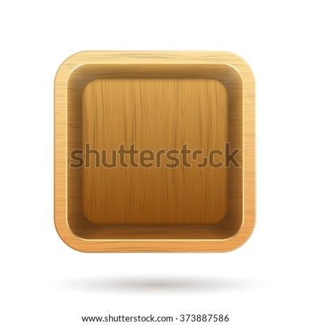 Wooden box app icon. Vector Illustration - stock vector
