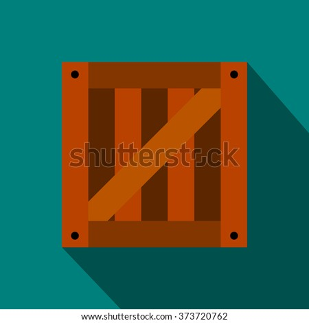 Wooden box flat icon on a blue background - stock vector