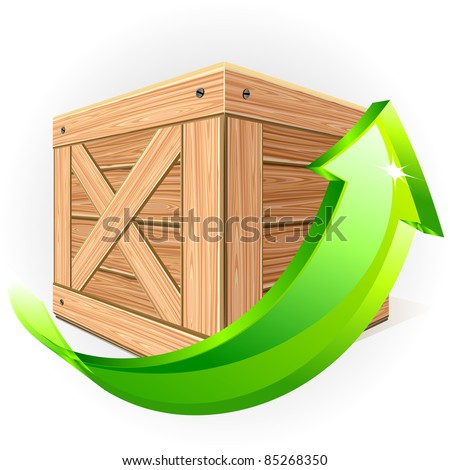 Wooden box with green arrow - stock vector