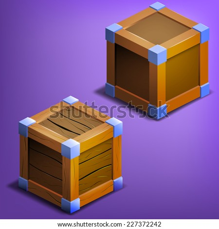 Wooden boxes. Vector illustration. - stock vector