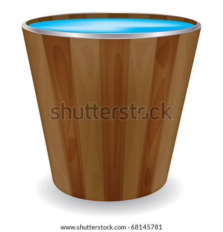 Wooden bucket on a isolated background,vector - stock vector