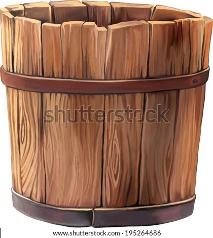 wooden bucket on white background - stock vector