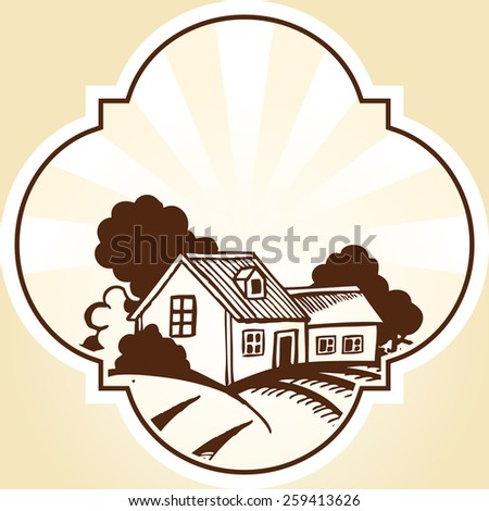 Wooden buildings and fields and trees. Monochrome drawing. - stock vector