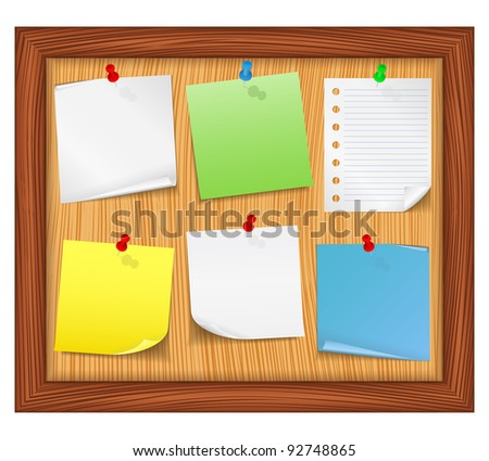 Wooden bulletin board with paper notes, vector eps10 illustration - stock vector