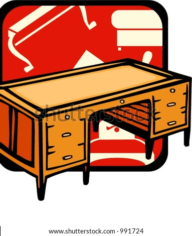 Wooden bureau.Pantone colors.Vector illustration