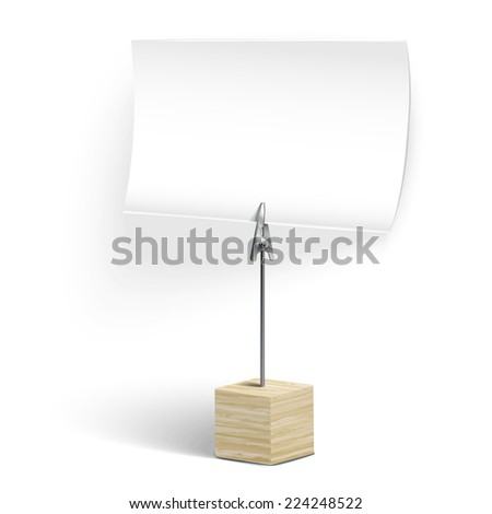 wooden card holder isolated on white background - stock vector