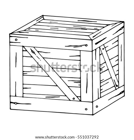 Wooden Cartoon box. Vector