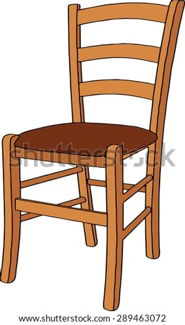 Wooden chair. Isolated on white background. Realistic vector illustration
