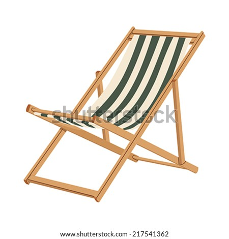 Wooden chaise lounge on a white background - stock vector