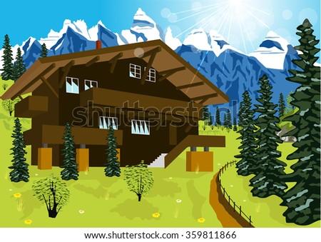 Chalet stock photos royalty free images vectors for Disegni di chalet svizzeri
