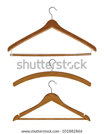 wooden clothes hanger set - stock vector