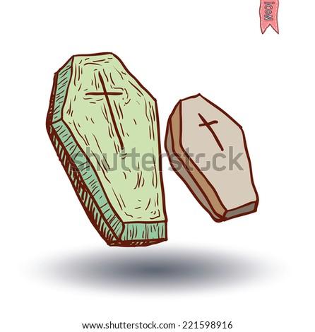 Wooden coffin - stock vector