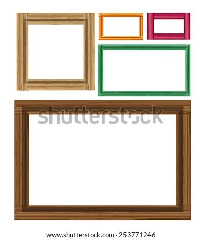 Wooden colored vintage frames - stock vector
