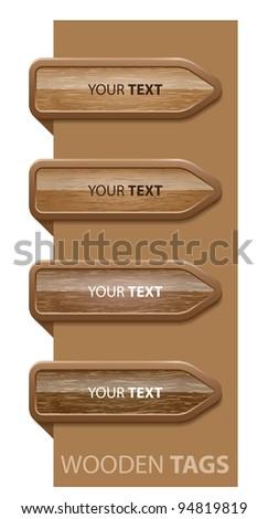 Wooden corner buttons, easy editable-vector - stock vector