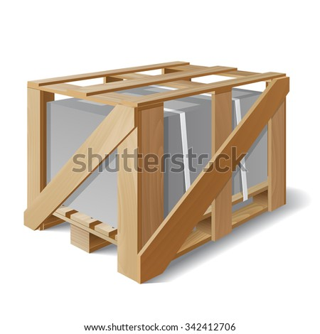Wooden crate with cargo on a pallet. Example of product packaging. The symbol transport delivery. Vector illustration - stock vector