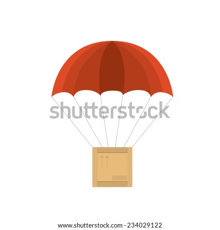 wooden crate with red parachute. Vector illustration on white background - stock vector