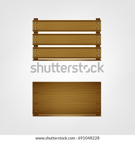 Wooden Crates For Fruits Or Vegetables Food Storage And Transportation Boxes Isolated On A White