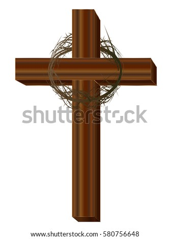 Wooden Cross Crown Thorns Isolated On Stock Vector ...