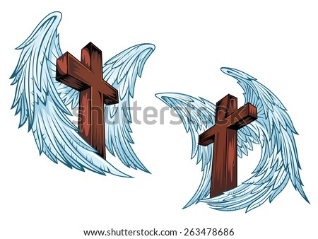 Wooden crosses with blue angel wings isolated on white background suitable for religious or tattoo design - stock vector